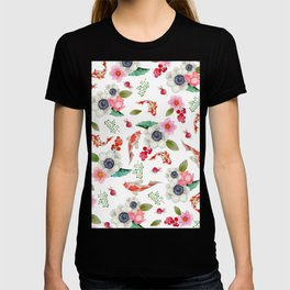 Modern pink red watercolor tropical floral koi fish pattern T-shirt