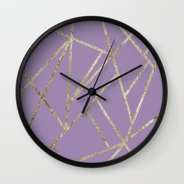 Classic Lavender Gold Geo #1 #geometric #decor #art #society6 Wall Clock