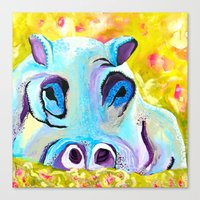 hippo Canvas Prints featuring Hippo by Mandy Kopelke Art