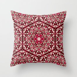 Red geometric Mandala Rich Ornament Throw Pillow