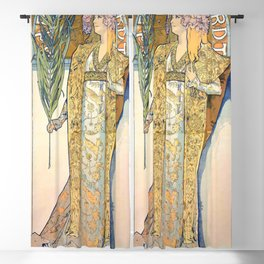 Gismonda by Alphonse Mucha Blackout Curtain
