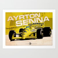 f1 Art Prints featuring Ayrton Senna - F1 1987 by Evan DeCiren