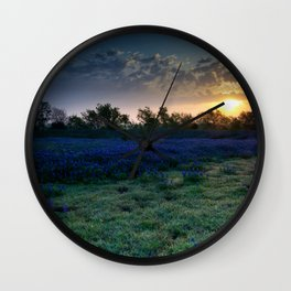 Texas Bluebonnets by the Pond at Sunrise Wall Clock