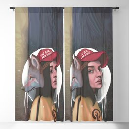 Modern red ridding hood girl portrait with wolf mask  Blackout Curtain