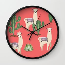 Llama with Cacti Wall Clock