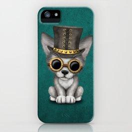 Steampunk Baby Wolf Cub on Blue iPhone Case