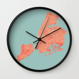 New York City Map in Coral Pink Wall Clock