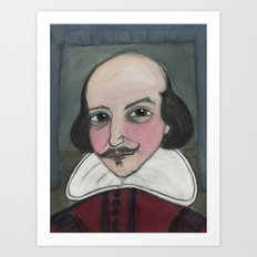 Much Ado About Shakespeare, Illustrated Writers Portrait Art Print