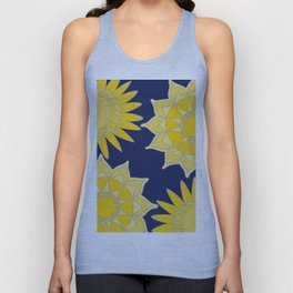 Sunshine yellow navy blue abstract floral mandala Unisex Tank Top
