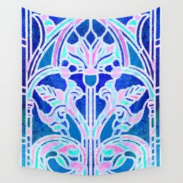 Art Nouveau Blue and Pink Batik Texture Wall Tapestry