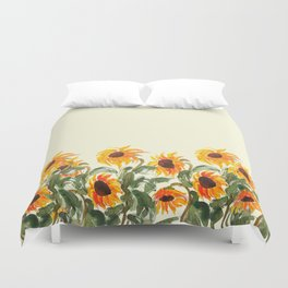 sunflower watewrcolor 2018 Duvet Cover