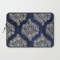 elegant Laptop Sleeves featuring Cream Floral Moroccan Pattern on Deep Indigo Ink by micklyn