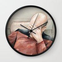 meme Wall Clocks featuring Picard Facepalm Meme by Olechka