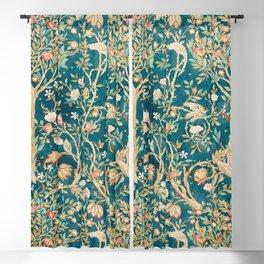 William Morris Vintage Melsetter Teal Blue Green Floral Art Blackout Curtain
