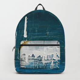 Rain [3]: a minimal, abstract mixed-media piece in blues, white, and gold by Alyssa Hamilton Art Backpack
