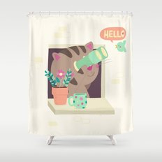 Hello Cat Shower Curtain