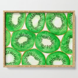 Watercolor kiwi slices pattern Serving Tray