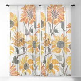 Sunflower Watercolor – Yellow & Black Palette Sheer Curtain