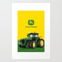 john green Art Prints featuring John Deere Green Tractor by rumahcreative