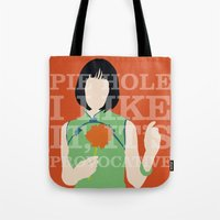 pushing daisies Tote Bags featuring Pushing Daisies - Vivian by MacGuffin Designs