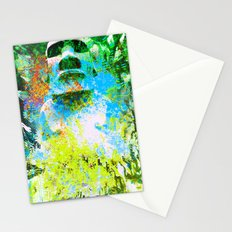 moai in green Stationery Cards