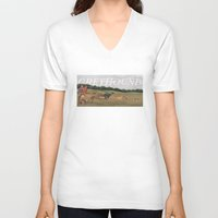 greyhound V-neck T-shirts featuring Greyhound by Jeff Crosby