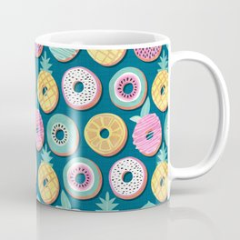 Undercover donuts // turquoise background pastel colors fruit donuts Coffee Mug