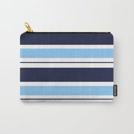 Blue Navy and Turquoise Stripes Carry-All Pouch