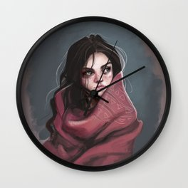 Wild Girl in the cold night Wall Clock