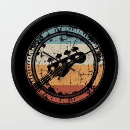 Vintage Bass Guitar Headstock for Bassist and Bass Player Wall Clock