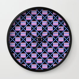 Cornflower Blue, Carnation Pink, Lavender Purple Kente Cloth on Black Wall Clock