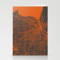 detroit Stationery Cards featuring Detroit map by Map Map Maps