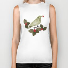 Birds and Holly in Greens, Golds and Red Biker Tank