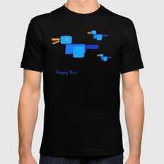 Happy Bird-Blue MEDIUM Black Mens Fitted Tee