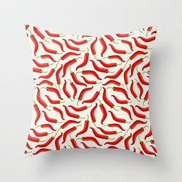 Hot red chili pepper pattern Throw Pillow