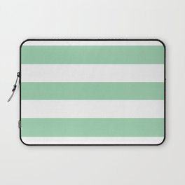 Turquoise green - solid color - white stripes pattern Laptop Sleeve
