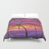 palms Duvet Covers featuring Palms by Lissasdesigns
