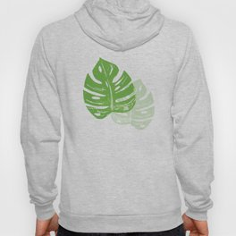 Linocut Monstera Leaf Pattern Hoody