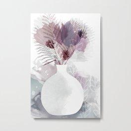 Purple flowers in white vase Metal Print