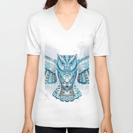 Blue Ethnic Owl Unisex V-Neck