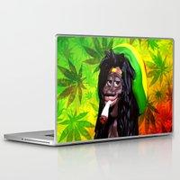 marijuana Laptop & iPad Skins featuring Rastaman Marijuana Caricature 3d by BluedarkArt