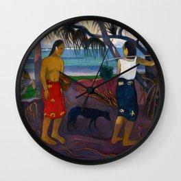 Under the Pandanus II by Paul Gauguin Wall Clock