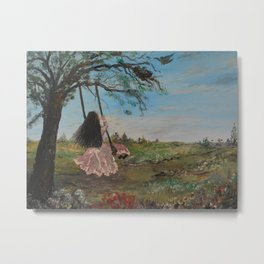 Swinging and Singing  under the Big Old Tree Metal Print