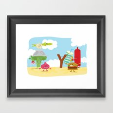 Vegetables vs. Fast food Framed Art Print