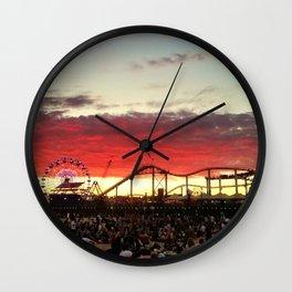 Sunset on the Beach at Santa Monica Pier Wall Clock