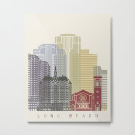 Long Beach skyline poster Metal Print