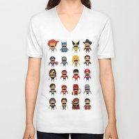 heroes V-neck T-shirts featuring Screaming Heroes by That Design Bastard