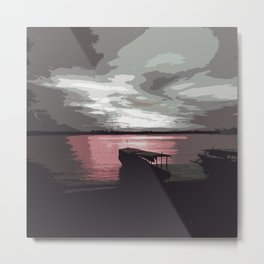 Pink Evening At The Beach Metal Print