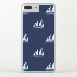 Pale blue Sailboat Pattern on navy blue background Clear iPhone Case