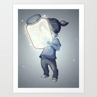fireflies Art Prints featuring Fireflies by mindymcpeak